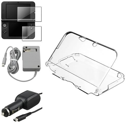 Insten Clear Crystal Case+2-LCD Screen Protector+Travel+Car Charger For Nintendo 3DS XL