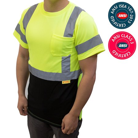 NY BFS8512 High-Visibility Class 3 T Shirt with Moisture Wicking Mesh Birdseye, Black Bottom (5XL,