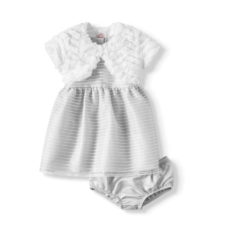 Holiday Short Sleeve Lurex Stripe Special Occasion Dress With Faux Fur Shrug, 2pc Outfit Set (Baby Girls)