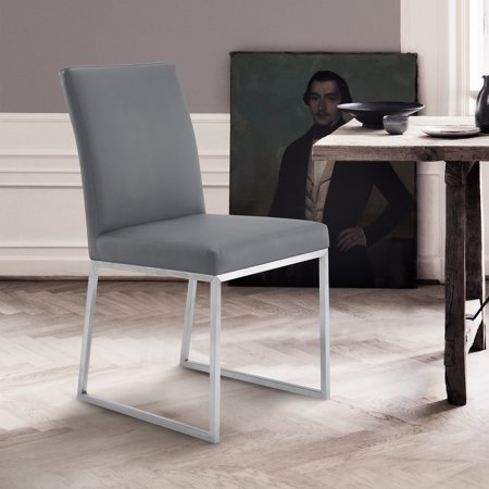 Ronan Contemporary Dining Chair in Brushed Stainless Steel and Grey Faux Leather - Set of