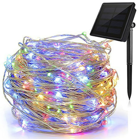 Solite Outdoor String Lights,100 LED Solar Fairy Lights 33ft Flexible Copper Wire Auto On/Off 8 Modes Waterproof IP65 String Lights for Garden, Patio, Windows, Trees, Party (Multi clours) - Multi String Lights