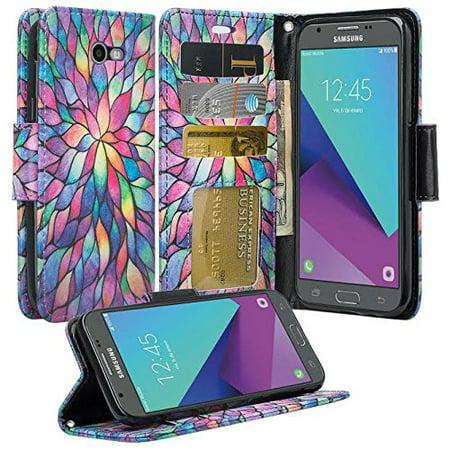 Samsung Galaxy J3 Emerge Case  J3 Prime  J3 Luna Pro  Amp Prime 2  Express Prime 2  J3 2017 Case   Wydan Wallet Leather Credit Card Flip Book Style Folio Kickstand Cover W  Strap Rainbow Flower