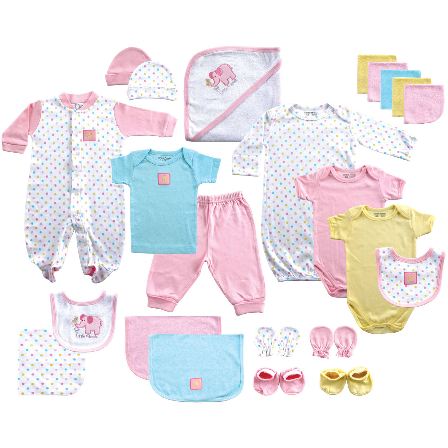 Luvable Friends Newborn Baby Girl Deluxe 24-Piece Gift Cube, Pink
