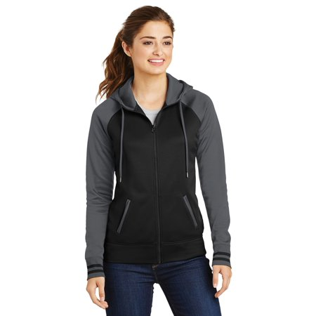 Sport-Tek Women's Fleece Three Panel Polyester Full Zip Hooded (Womens Columbia Three Lakes Hooded Long Fleece Jacket)
