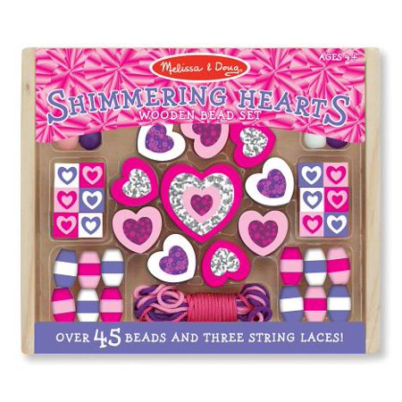 Melissa & Doug Shimmering Hearts Wooden Bead Set: 45 Beads and 3 Laces for Jewelry-Making (Wooden Toy Making)