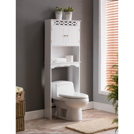 White Wood Contemporary Over The Toilet Bathroom Rack With Storage Cabinet Shelf