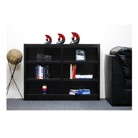 Concepts in Wood 6 Shelf Double Wide Wood Bookcase, 36 inch Tall - Espresso