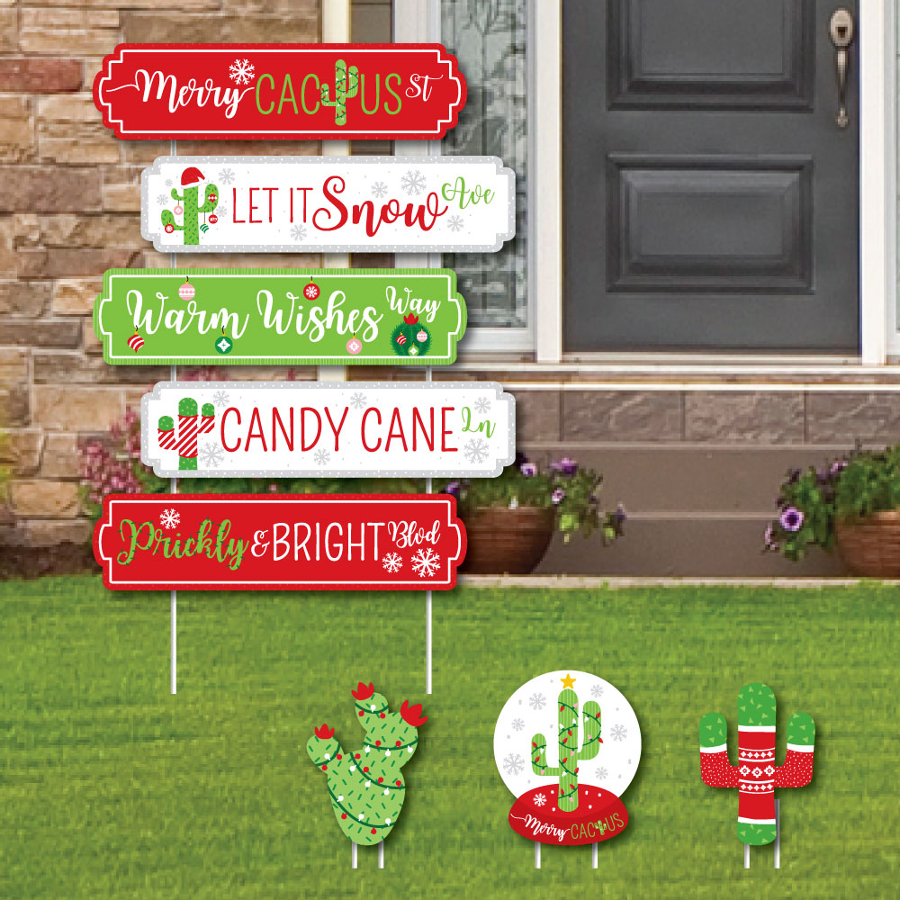 Merry Cactus Street Sign Cutouts - Christmas Cactus Party Yard Signs Decorations - Set of 8