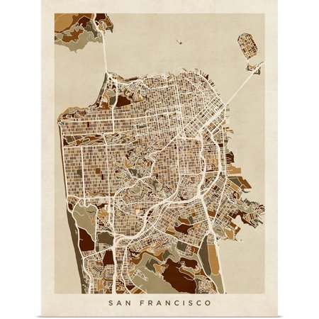 Great BIG Canvas | Rolled Michael Tompsett Poster Print entitled San Francisco City Street Map ()