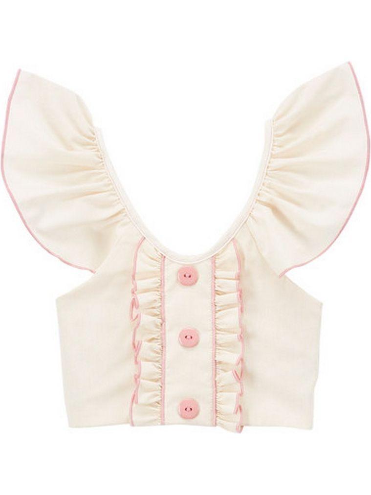 Little Girls Ivory Pink Flutter Sleeve Ruffle Trim Button Cotton Shirt