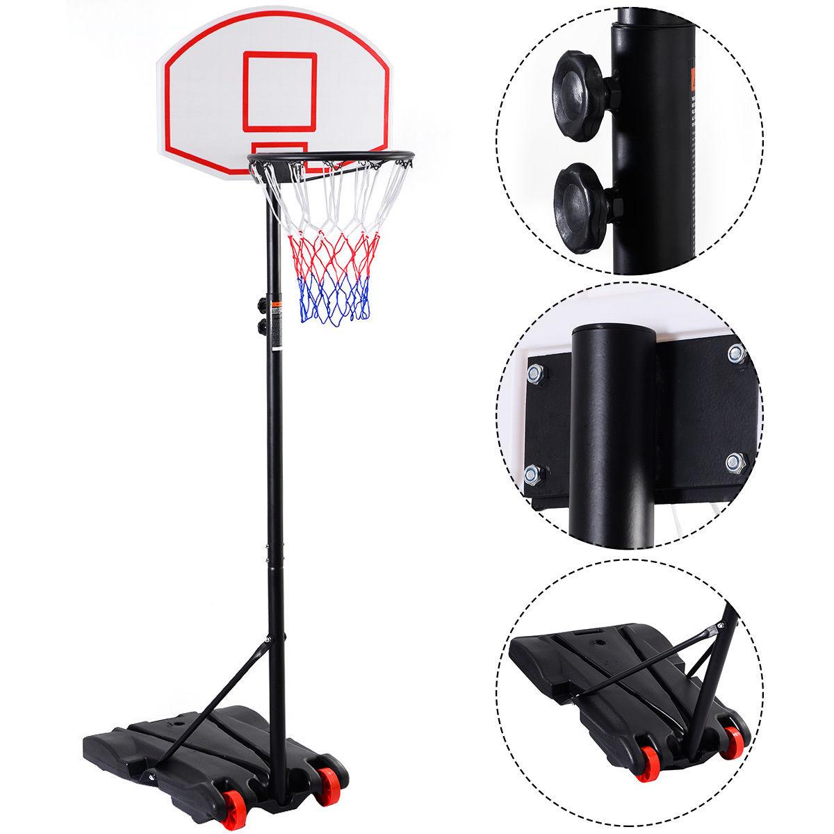 "GHP Steel Frame PE Panel 64.9""-83.8"" Adjustable Height Kids Basketball Hoop System"