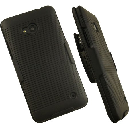 NAKEDCELLPHONE'S BLACK RIBBED RUBBERIZED HARD CASE COVER BELT CLIP HOLSTER STAND FOR MICROSOFT LUMIA 640 PHONE (T-MOBILE, METRO PCS, (Best Microsoft Word App For Android)