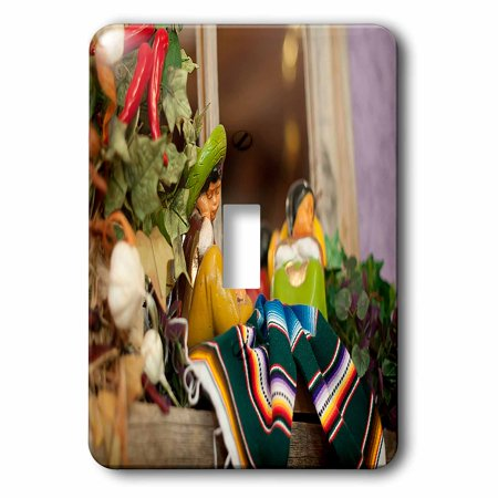 3dRose Hispanic Boy and Girl Ceramic Hanging on a Mirror with Hot Chilis and Leaves at Mexican Restaurant - Single Toggle Switch - Chilis Restaurant