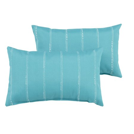 Humble and Haute Caldwell Aqua Dotted Stripes Indoor/ Outdoor 13 x 20 inch Knife Edge Pillow Set ()