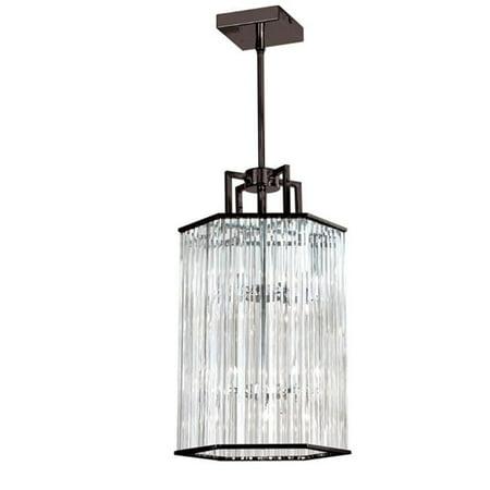 6 Light Crystal Foyer Lantern, Vintage Oiled Brushed Bronze Bronze Crystal Six Light
