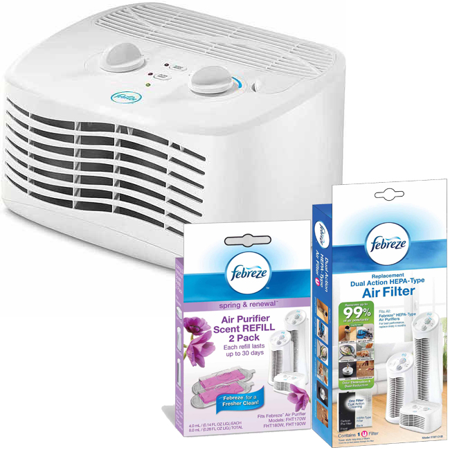 Febreze Tabletop Air Purifier with Scent Cartridge and Filter Value Bundle