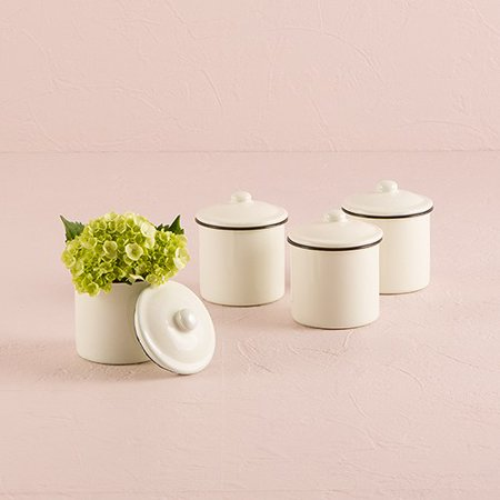 Small Enamelware Canister Wedding Favors