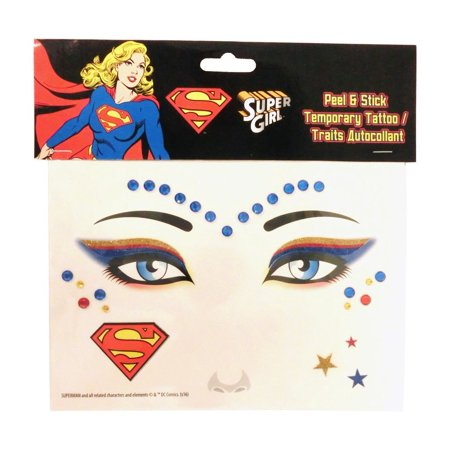 Super Girl Peel and Stick Jewels Face Tattoos (Skeleton Face Tatoo)
