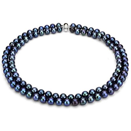 """Image of Black Freshwater Pearl Necklace for Women, Sterling Silver 2 Row 17"""" & 18"""" 9mm x 10mm"""