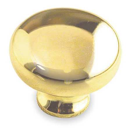 "ZORO SELECT 1XNR5 Cabinet Knob, Zinc, Polished Brass, Proj. 1"", PK.5"