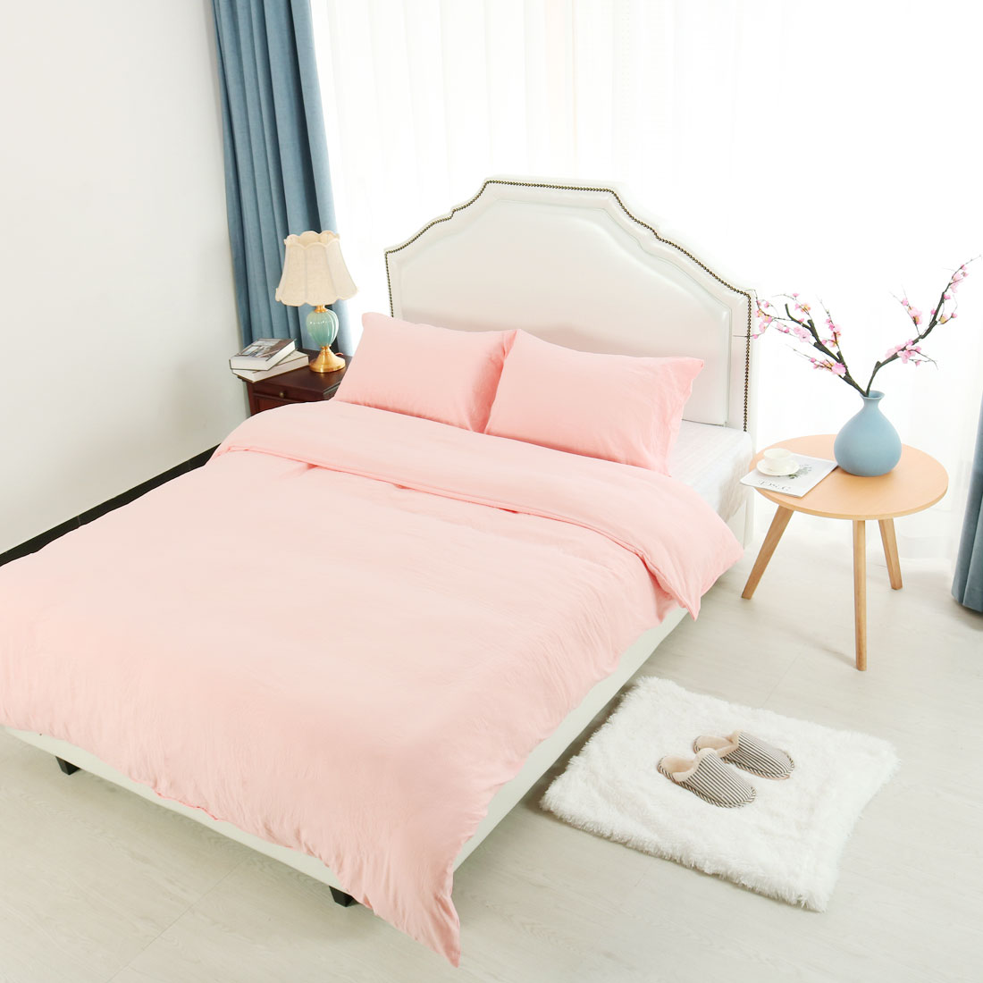 Twin Duvet Cover Set (1 Duvet Cover + 1 Pillowcase) Washed Cotton Coral Pink