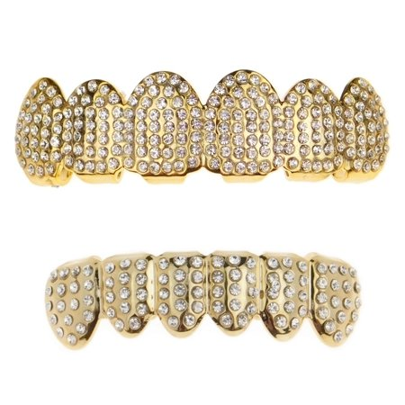 14k Gold Plated Best Grillz Set Top & Bottom Micro Pave Bling Teeth Hip Hop Grills
