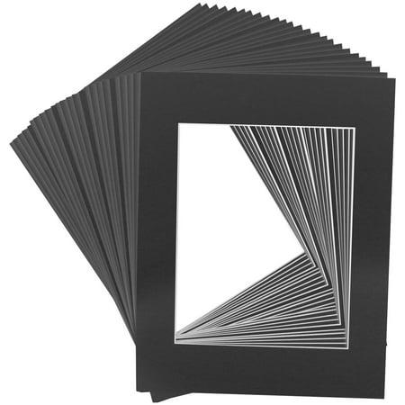 25 Art Mats Premier Quality Acid-Free Pre-Cut 16x20 Black Picture Mat Face Frame