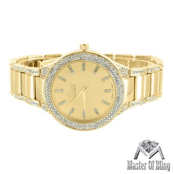 Ladies Geneva Platinum Watch 14k Gold Tone Simulated Lab Created Cubic Zirconias Water Resist