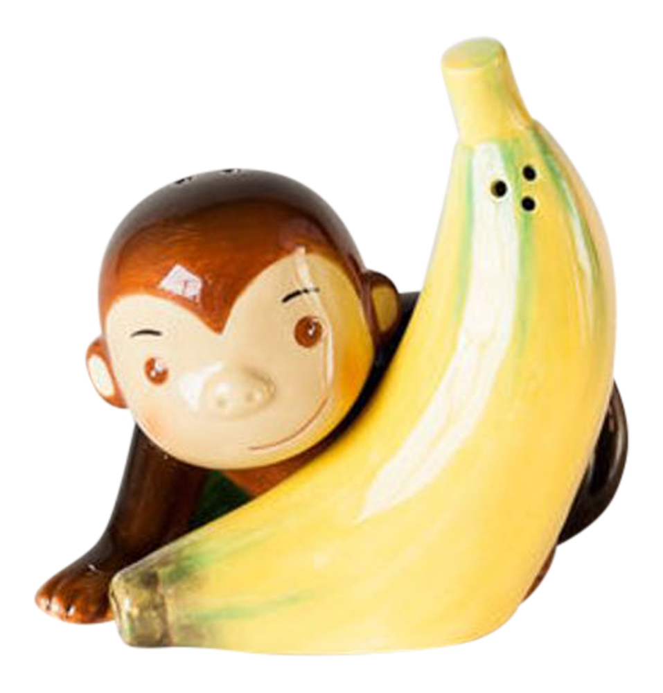 Don't Monkey with Me and My Banana Magnetic Salt and Pepper Shaker Set