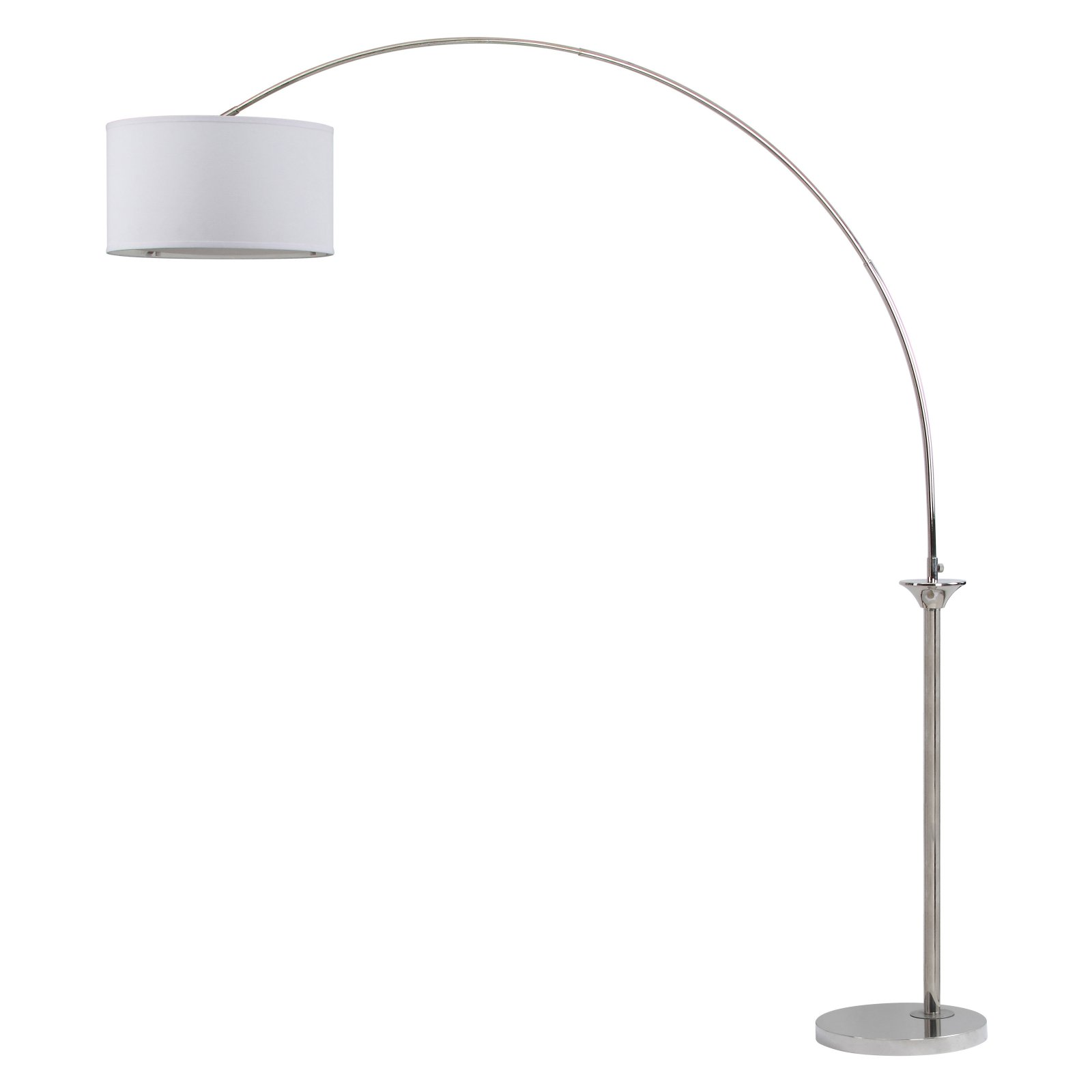 Safavieh Mira Arc Floor Lamp With CFL Bulb, Shine Nickel With Off White  Shade