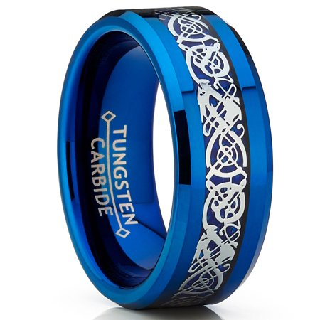 Ring Wright Co. Blue Tungsten Carbide Dragon Ring Wedding Band Blue Carbon Fiber Comfort Fit (Dragon Ring)