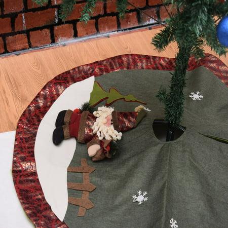 105cm Christmas Tree Skirt Floor Mat Cover Plush Rug Party Home Decor Cushion