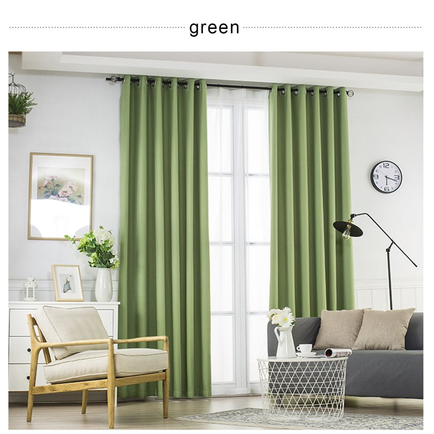 "35"" x 95"" Pleat Window Curtain 2 Panel Window Blinds Blackout Curtains , Green"