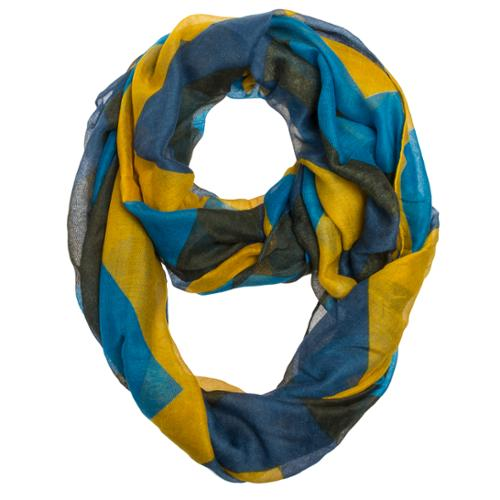 NEW Womens Yellow/Blue/Black Chevron Infinity Loop Circle Neck Scarf Cowl Shawl