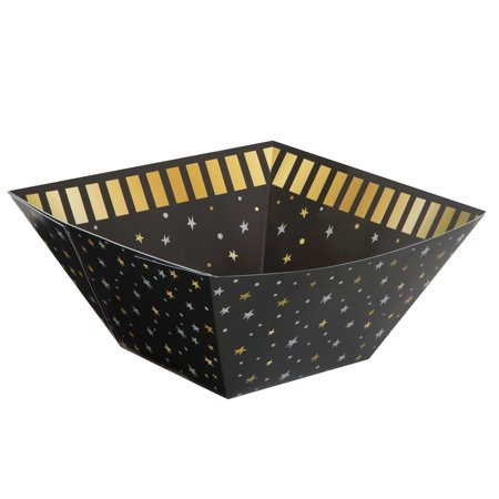 You Did It! Graduation Square Paper Bowl, 11 x 11 in, Black & Gold, 1ct