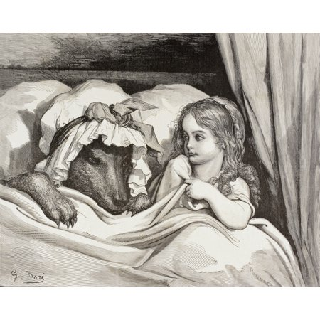 Scene From Little Red Riding Hood By Charles Perrault Little Red Riding Hood In Bed With The Wolf Who Is Dressed As Her Grandmother After Eating Her What Big Teeth - Red Riding Hood And Wolf Couple Costume