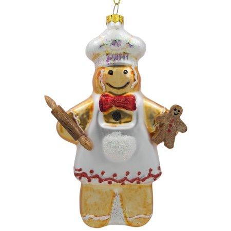 BestPysanky Gingerbread Man Baker Glass Christmas Ornament 5.5 Inches Gingerbread Men Decor