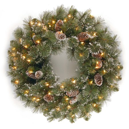 National Tree GP1-300-24with 1 24 in. Glittery Pine Wreath with Cones  Snowflakes & 50 Clear Lights-UL - image 1 of 1