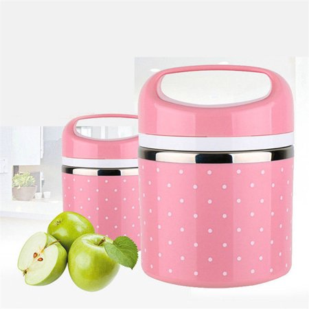Stainless Steel Thermal Insulation School Lunch Box Leak-Proof Food Container Bento Box Color:Pink Specification:Single layer
