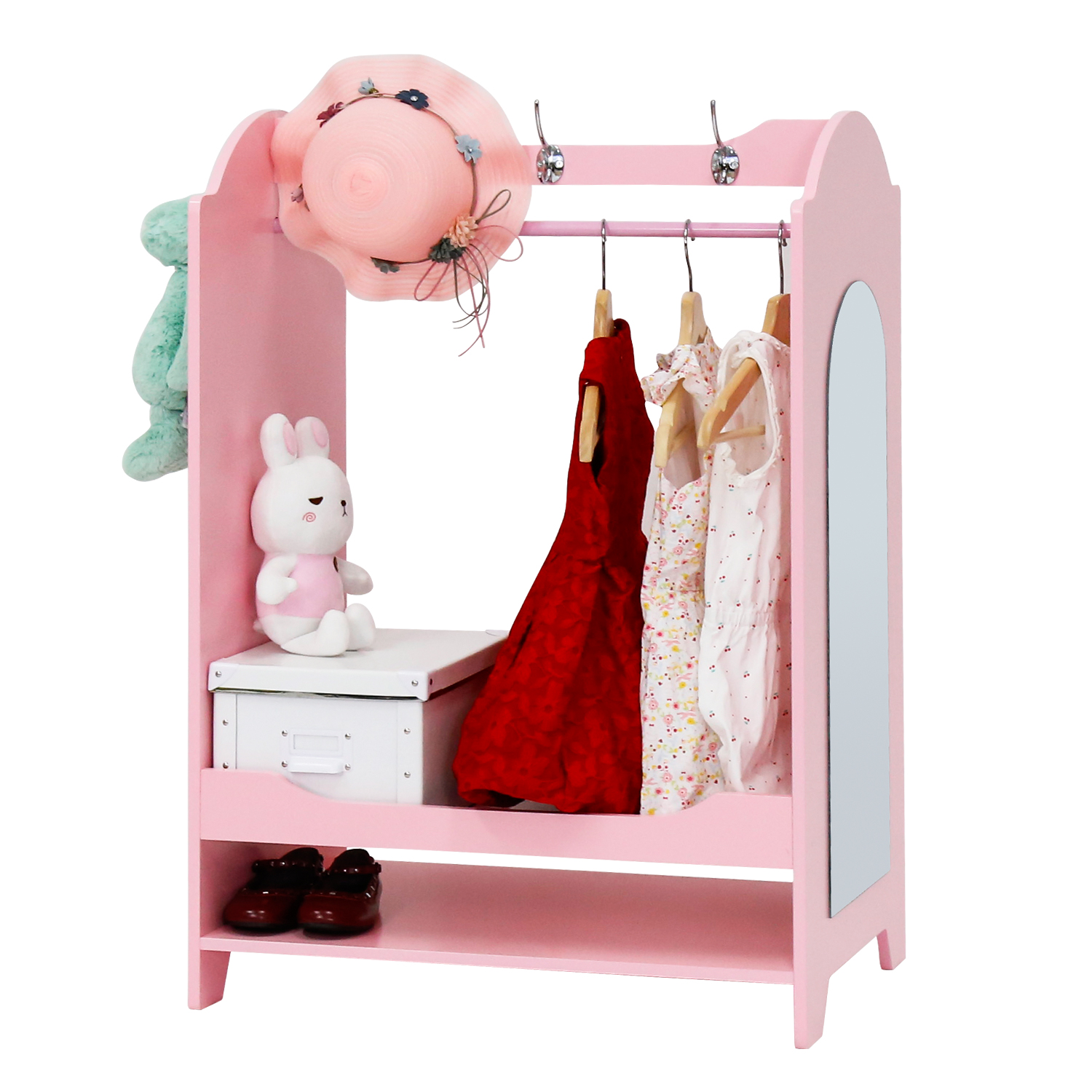 Kinbor Pink Cute Kid's Furniture See and Store Dress up Storage Center Closet Armoire Cabinet with Mirror