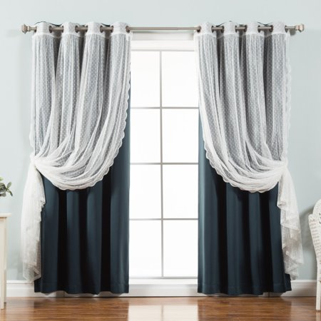 Best Home Fashion Dotted Tulle Blackout Mix & Match Curtain Panels - Set of