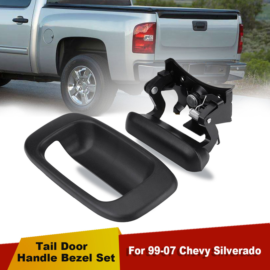 SET OF 5 PCS Chevy Silverado GMC Sierra Outside Handles and Tailgate /& Bezel