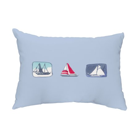 Boat Trio 14x20 inch Blue Nautical Decorative Outdoor Pillow