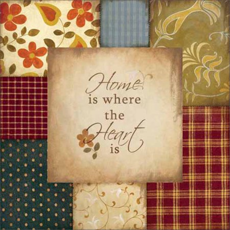 Home Heart Americana Folk Patchwork Primitive Pattern Inspirational Painting Red & Tan Canvas Art by Pied Piper Creative](Halloween Folk Art Paintings)
