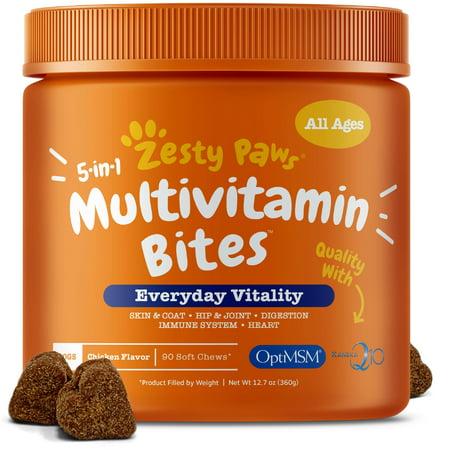 Chicken Feed Protein (Zesty Paws 5-in-1 Multivitamin Bites for Dogs, Chicken Flavor, 90 Soft Chews)
