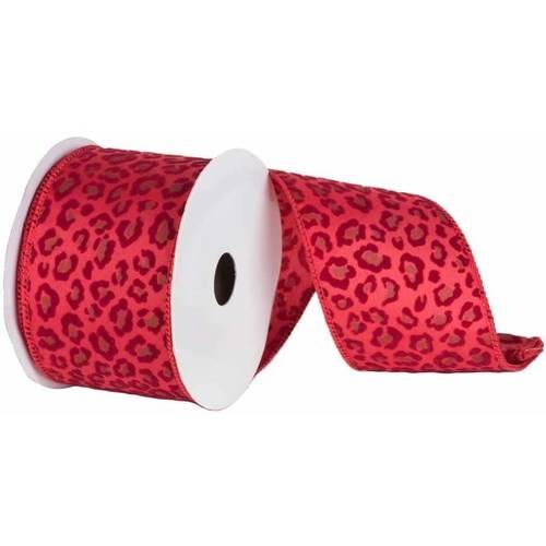 "Vickerman 2.5"" Red Leopard Velvet Christmas and Craft Ribbon"