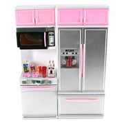 """Modern Kitchen 15' Battery Operated Toy Kitchen Playset, Perfect for Use with 11-12"""" Tall Dolls"""