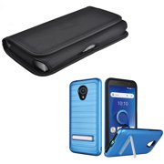 For Verizon Wireless Alcatel Avalon Case / Tracfone TCL LX Case (Not for TCL A1)/ AT&T IdealXtra Case / 1X Evolve + Horizontal Canvas Pouch  (Brushstand Blue Case + Canvas Pouch)