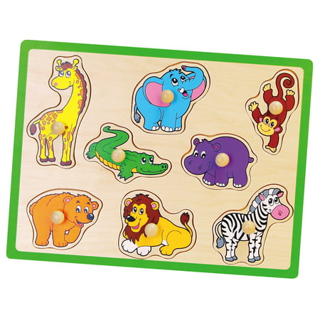 - 8 pcs Wild Animals Puzzle with Wooden knobs