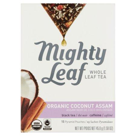Mighty Leaf Noix de coco biologique Assam feuilles entières Thé 15 Pouches Pyramide, 1,59 oz Pack 6